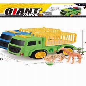 משאית חיות + נמר וג'ירפה